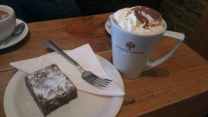 Chocolate brownie and hot chocolate