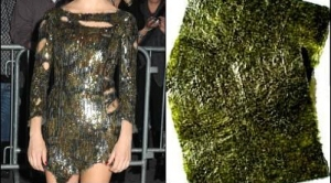 A dress that looks like it's been made out of nori seaweed.