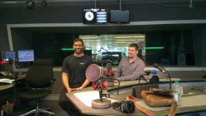 Andrew and Dexy inside BBC's Radio Studio.